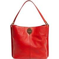 Karen Millen Slouchy Leather Shoulder Bag, Red