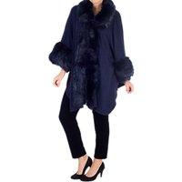 Chesca Faux Fur Trimmed Wrap