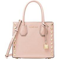 MICHAEL Michael Kors Mercer Leather Heart Stud Messenger Bag, Soft Pink