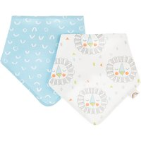John Lewis Baby Lion Terry Back Dribble Bibs, Pack of 2, Multi
