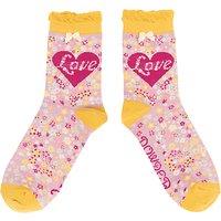 Powder Love and Flower Print Ankle Socks, Pink/Multi