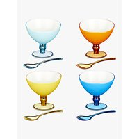 John Lewis Poolside Wave Picnic Plastic Dessert Bowls and Spoons Set, Assorted, Set of 4