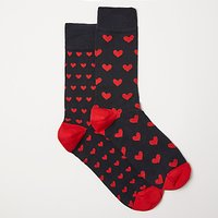 John Lewis Heart Socks, Pack of 2, One Size, Black/Red