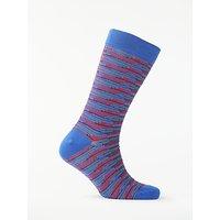Ted Baker Newtape Irregular Stripe Socks, One Size, Blue/Red