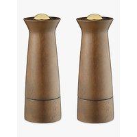 John Lewis & Partners Forest Wood Salt and Pepper Mills, Natural/Brass, Set of 2