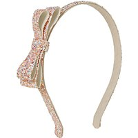 John Lewis Girls' Glitter Bow Alice Band, Pink