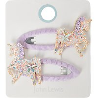 John Lewis Girls' Sparkly Sequin Unicorn Hair Clips, Pack of 2, Purple