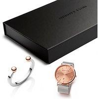 Abbott Lyon AL3507 Womens Stella Date Bracelet Strap Watch and Bangle Gift Set, Silver/Rose Gold