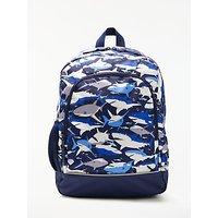 John Lewis Children's Shark Print Backpack, Navy/Multi