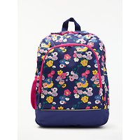 John Lewis & Partners Children's Floral Print Backpack, NavyMulti