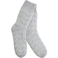 Hygge by Mint Velvet Fair Isle Slipper Sock, One Size, Light Grey