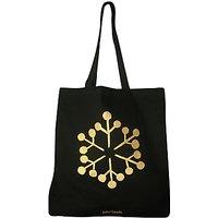 John Lewis Christmas Snowflake Tote Bag, Black/Gold