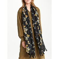 AND/OR Nevada Floral Tassel Scarf, Black Mix