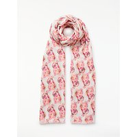 John Lewis Painted Parakeet Cotton Twill Scarf, Pink Mix
