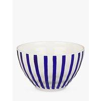 John Lewis Harbour Striped Salad Bowl, White/Blue, Dia.25cm