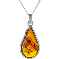 Be-Jewelled Pear Amber Pendant Necklace, Cognac