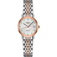 Longines L43095877 Women's Elegant Automatic Diamond Date Two Tone Bracelet Strap Watch, Silver/Rose