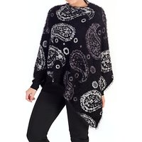 Chesca Knitted Paisley Poncho, Black/Grey