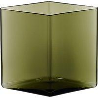 Iittala Ruutu Glass Vase, Moss Green, 20.5 x 18cm