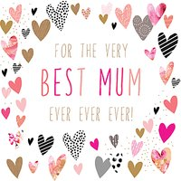 Portfolio Best Mum Ever Heart Mother's Day Card