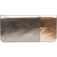 French Connection Metallic Foldover Clutch, Silver/Rose Gold