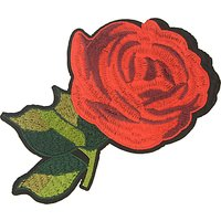 La St ©phanoise Extra Large Iron On Rose Patch, Red