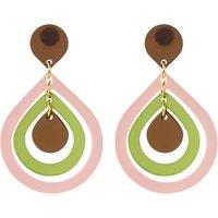 Toolally Pear Drop Earrings, Blush Pink/Multi