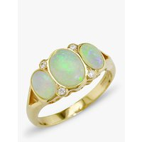 shop for E.W Adams 9ct Yellow Gold Opal and Diamond Cocktail Ring at Shopo