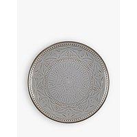 John Lewis Indian Embossed Side Plate, Grey, Dia.21cm