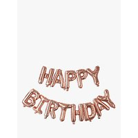 Ginger Ray Happy Birthday Balloon Bunting, Rose Gold