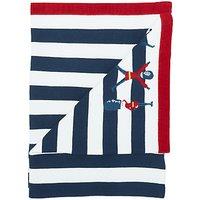 John Lewis Baby London Applique Stripe Pram Blanket, 75 x 100cm, Multi