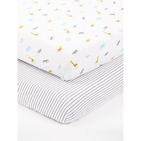 John Lewis & Partners Baby Safari Cotbed Fitted Sheet, 140 x 70cm, Pack of 3