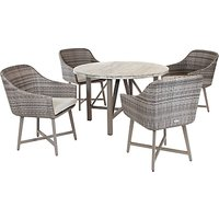 KETTLER LaMode 4 Seater Garden Dining Table and Chairs Set, Rattan