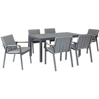 KETTLER Paros 6 Seater Garden Dining Table and Chairs Set, Grey
