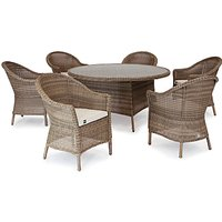 KETTLER RHS Harlow Carr 6 Seater Garden Dining Table and Chairs Set, Natural