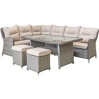 LG Outdoor Marseille 8 Seater Modular Garden Dining Table and Chairs Lounging Set, Natural