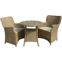 LG Outdoor Saigon 2 Seater Garden Bistro Table and Chairs Set, Natural Grey