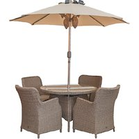 LG Outdoor Saigon 4 Seater Dining Table and Chairs Set with Parasol, Natural Grey