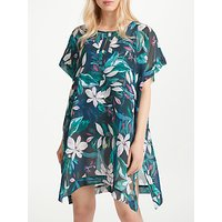 John Lewis Jungle Leaf Border Print Kaftan, Teal/Multi