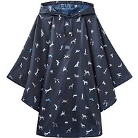Joules Dog Print Rain Poncho, French Navy