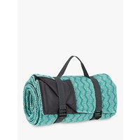 John Lewis Fusion Zigzag Waterproof Backed Outdoor Picnic Rug, Teal