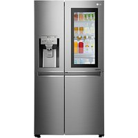 LG GSX960NSAZ Insta View American Style Plumbed Fridge Freezer, A++ Energy Rating, 90cm Wide, Noble Steel