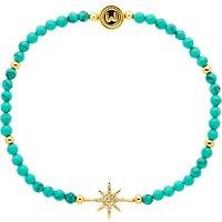 shop for Melissa Odabash Turquoise and Crystal Star Stretch Bracelet, Blue/Gold at Shopo