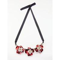 John Lewis Floral Statement Necklace, Black/Hot Red