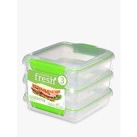 Sistema Fresh Polypropylene Sandwich Boxes, 450ml, Pack of 3