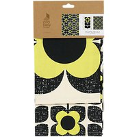Orla Kiely Scribble Square Flower Tea Towels, Primrose/Multi, Set of 2