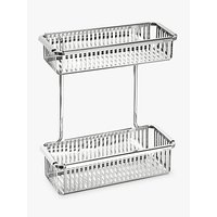 Robert Welch Burford Double Rectangular Shower Basket, Silver