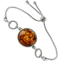 Be-Jewelled Round Amber Chain Bracelet, Cognac