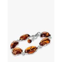 Be-Jewelled Oval Amber Bracelet, Cognac
