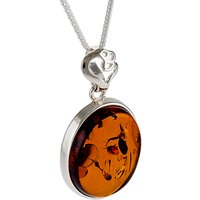 shop for Be-Jewelled Oval Amber Heart Detail Pendant Necklace, Cognac at Shopo